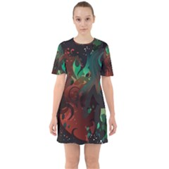 Chrys Stream Wall  Mini Dress