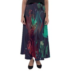 Chrys Stream Wall  Flared Maxi Skirt