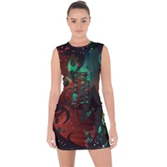 Chrys Stream Wall  Lace Up Front Bodycon Dress