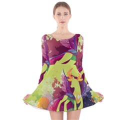 King Thorax Stream Wall  Long Sleeve Velvet Skater Dress