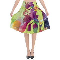 King Thorax Stream Wall  Flared Midi Skirt