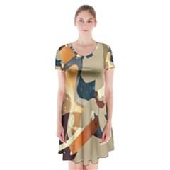 Dr Hooves Stream Wall  Short Sleeve V Neck Flare Dress