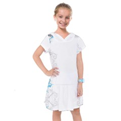 Patterns Blue White  Kids  Drop Waist Dress