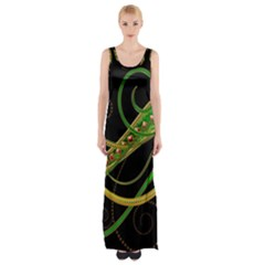 Pattern Leaves Lines  Maxi Thigh Split Dress