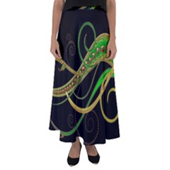 Pattern Leaves Lines  Flared Maxi Skirt