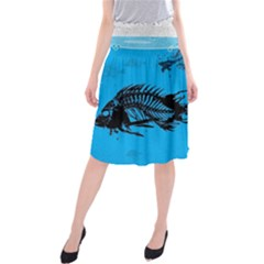 Fish Skeleton Paint  Midi Beach Skirt