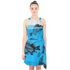 Fish Skeleton Paint  Halter Collar Waist Tie Chiffon Dress