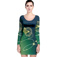 Butterfly Pattern Circles  Long Sleeve Velvet Bodycon Dress