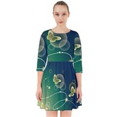 Butterfly Pattern Circles  Smock Dress