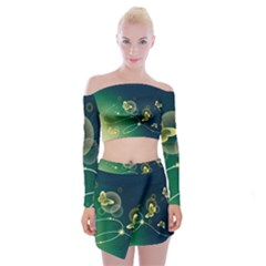 Butterfly Pattern Circles  Off Shoulder Top With Skirt Set