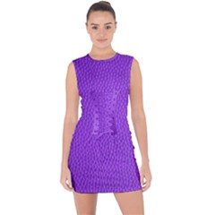 Purple Skin Leather Texture Pattern Lace Up Front Bodycon Dress