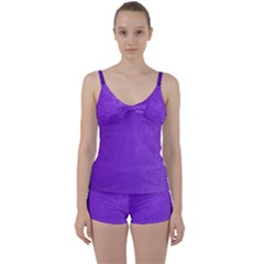 Purple Skin Leather Texture Pattern Tie Front Two Piece Tankini