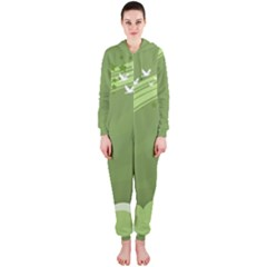 Birds Lines Flight  Hooded Jumpsuit (ladies)