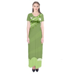 Birds Lines Flight  Short Sleeve Maxi Dress
