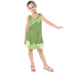 Birds Lines Flight  Kids  Sleeveless Dress