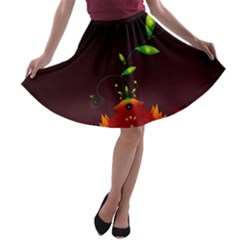 Flight Leaves Bright 3840x2400 A Line Skater Skirt