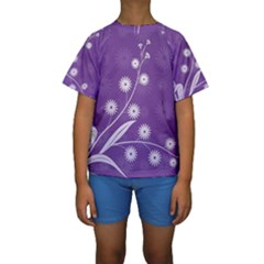 Flowers Leaves Purple  Kids  Short Sleeve Swimwear