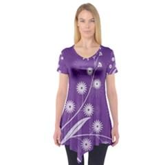 Flowers Leaves Purple  Short Sleeve Tunic
