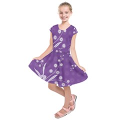 Flowers Leaves Purple  Kids  Short Sleeve Dress