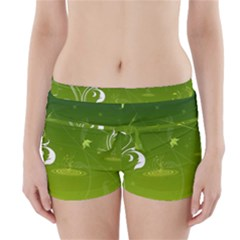 Patterns Green Background  Boyleg Bikini Wrap Bottoms