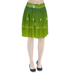 Patterns Green Background  Pleated Skirt