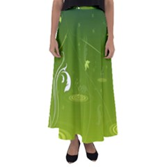 Patterns Green Background  Flared Maxi Skirt