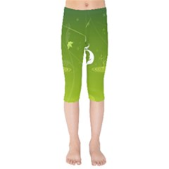 Patterns Green Background  Kids  Capri Leggings