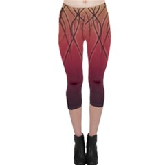 Waves Lines Bands Capri Leggings