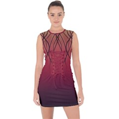 Waves Lines Bands Lace Up Front Bodycon Dress