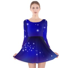 Point Way Glitter Long Sleeve Velvet Skater Dress