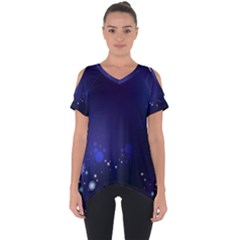 Flowers Stars Dots  Cut Out Side Drop Tee