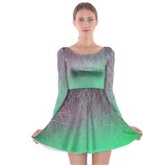 Line Light Surface  Long Sleeve Skater Dress