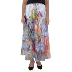 Texture Patterns Strokes  Flared Maxi Skirt
