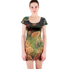 Leaves Plant Multi Colored  Short Sleeve Bodycon Dress