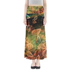 Leaves Plant Multi Colored  Full Length Maxi Skirt