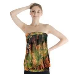Leaves Plant Multi Colored  Strapless Top