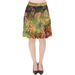 Leaves Plant Multi Colored  Velvet High Waist Skirt