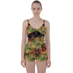 Leaves Plant Multi Colored  Tie Front Two Piece Tankini