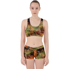 Leaves Plant Multi Colored  Work It Out Sports Bra Set