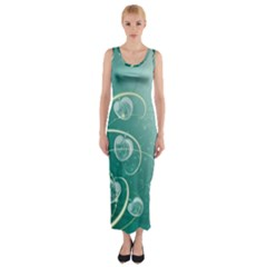 Patterns Plants Light  Fitted Maxi Dress