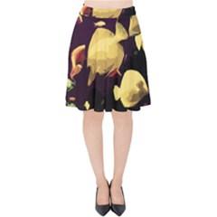 Tropical Fish Velvet High Waist Skirt