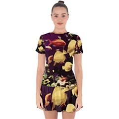 Tropical Fish Drop Hem Mini Chiffon Dress