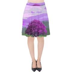 Landscape Velvet High Waist Skirt