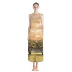 Landscape Button Up Chiffon Maxi Dress