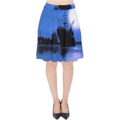Open Sea Velvet High Waist Skirt