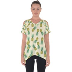 Pineapples Pattern Cut Out Side Drop Tee