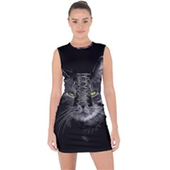 Domestic Cat Lace Up Front Bodycon Dress