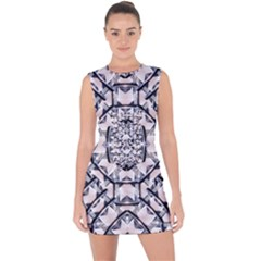 Futuristic Geometric Pattern  Lace Up Front Bodycon Dress
