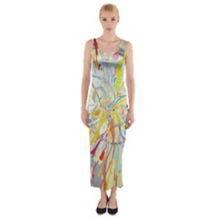 Drawing Multicolored Light  Fitted Maxi Dress