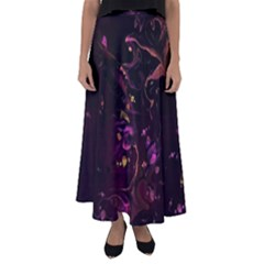 Abstraction Shadow Light Flared Maxi Skirt